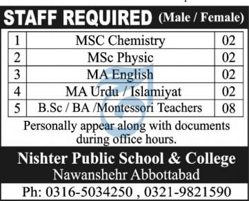 Nishter Public School & College Jobs 2020 in Abbottabad KPK