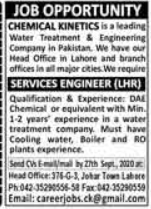 Chemical Kinetics Job 2020 For Services Engineer in Lahore