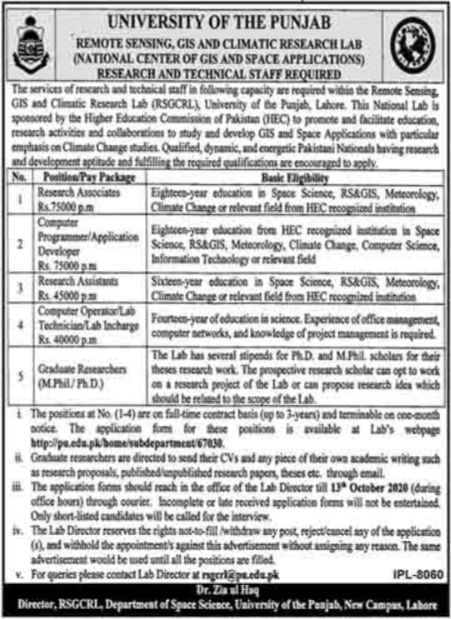 University Of The Punjab PU Jobs 2020 in Lahore