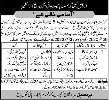 Government Pilot High School Job 2020 in Bagh AJK