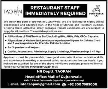 Restaurant Staff Jobs 2020 in Gujranwala