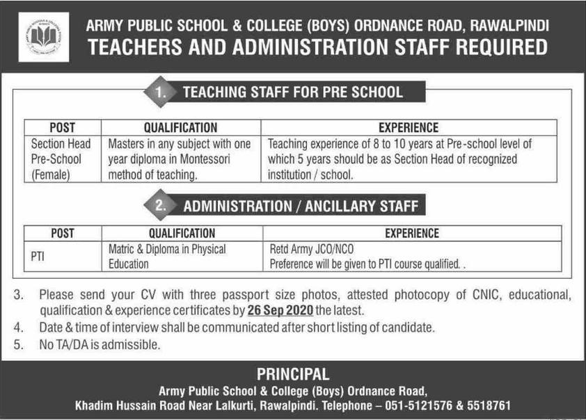 Army Public School & College Jobs 2020 in Rawalpindi