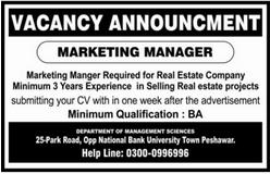 Marketing Manager Job 2020 in Peshawar KPK