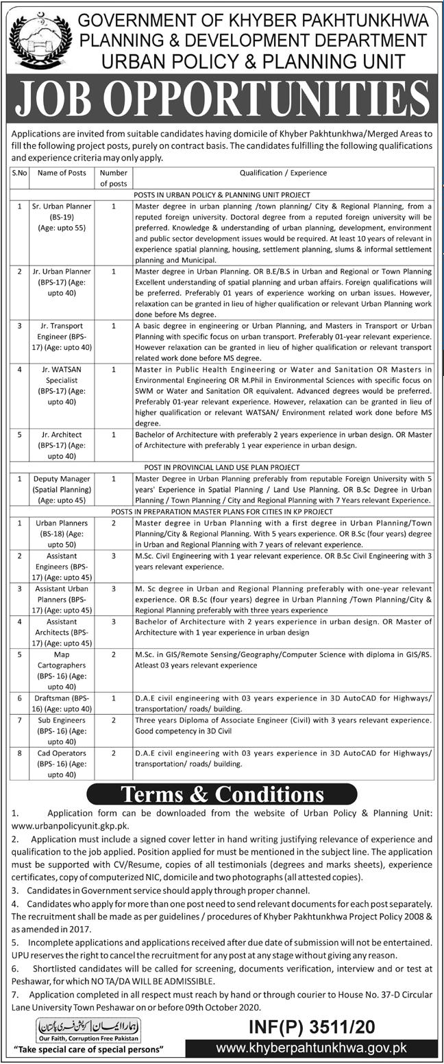 Planning & Development Department Jobs 2020 in Peshawar KPK