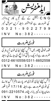 Daily Aaj Newspaper Classified Admin Jobs in Peshawar KPK