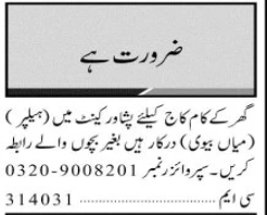House Staff Jobs 2020 in Peshawar Cantt