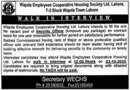 Wapda Employees Cooperative Housing Society Job 2020