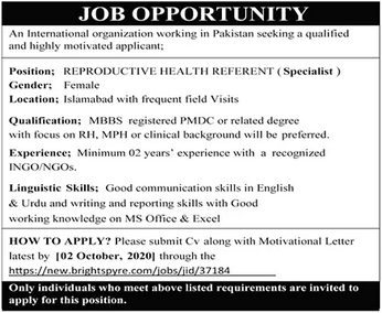 Reproductive Health Referent Job 2020 in Islamabad
