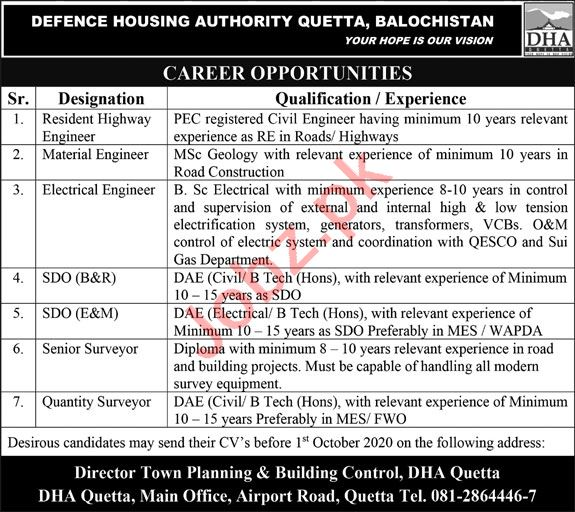Defence Housing Authority DHA Quetta Jobs 2020