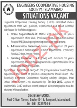 Engineers Cooperative Housing Society ECHS Islamabad Jobs