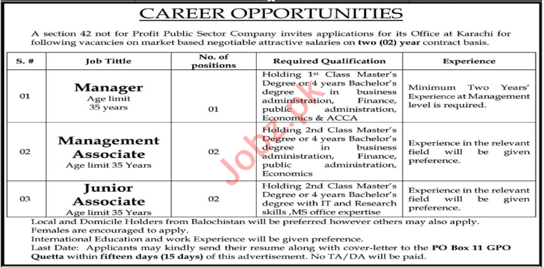 P O Box No 11 GPO Quetta Jobs 2020 for Junior Associate