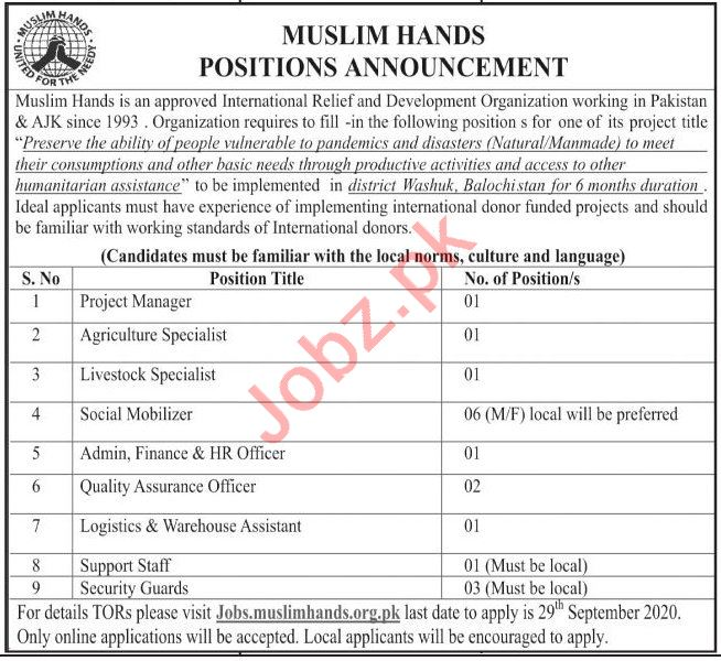 Muslim Hands Pakistan & AJK Jobs 2020 for Managers
