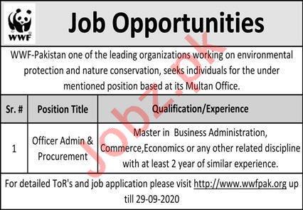 WWF Pakistan Jobs 2020 for Office Admin & Procurement