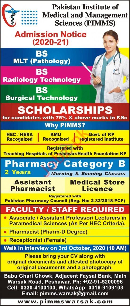 Pakistan Institute of Medical & Management Sciences Jobs