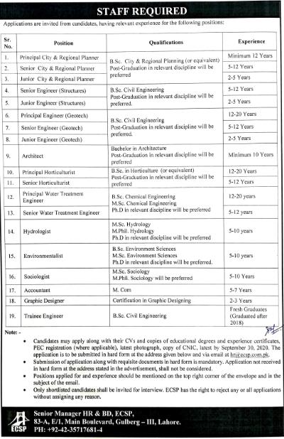 Engineering Consultancy Services Punjab ECSP Jobs 2020