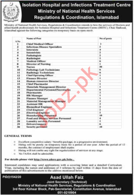 Ministry of National Health Services IHITC Jobs 2020