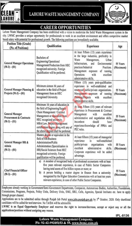 General Manager Jobs in Lahore Waste Management Company LWMC