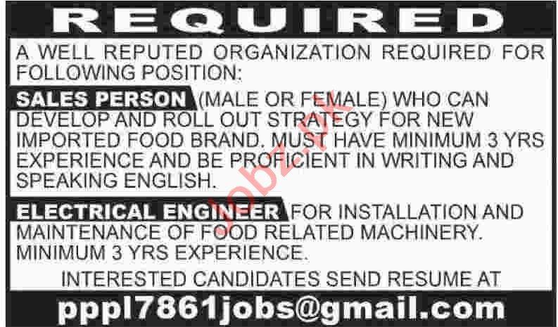 Sales Person & Electrical Engineer Jobs 2020 in Karachi