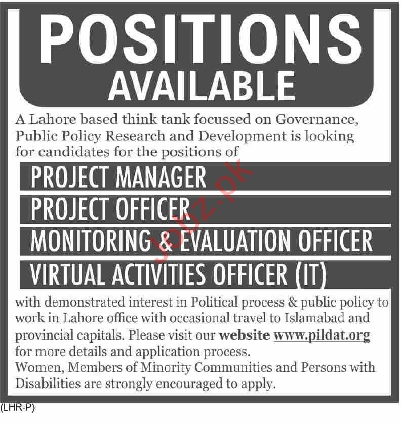 PILDAT Institute Jobs 2020 for Project Manager & Officer
