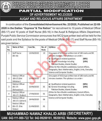 PPSC Auqaf & Religious Affairs Department Jobs 2020