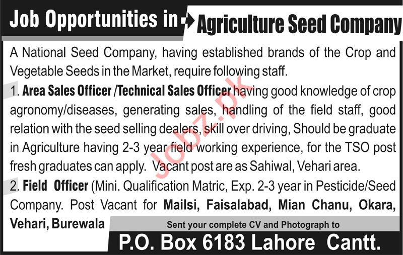 Area Sales Officer & Technical Sales Officer Jobs 2020