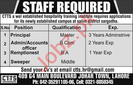 Principal & Accounts Officer Jobs 2020 in Lahore