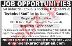Engineer & Technical Staff Jobs 2020 in Karachi