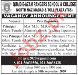 Quaid e Azam Rangers School & College North Nazimabad Jobs