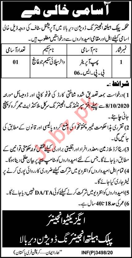 Public Health Engineering Division PHED Upper Dir Jobs 2020
