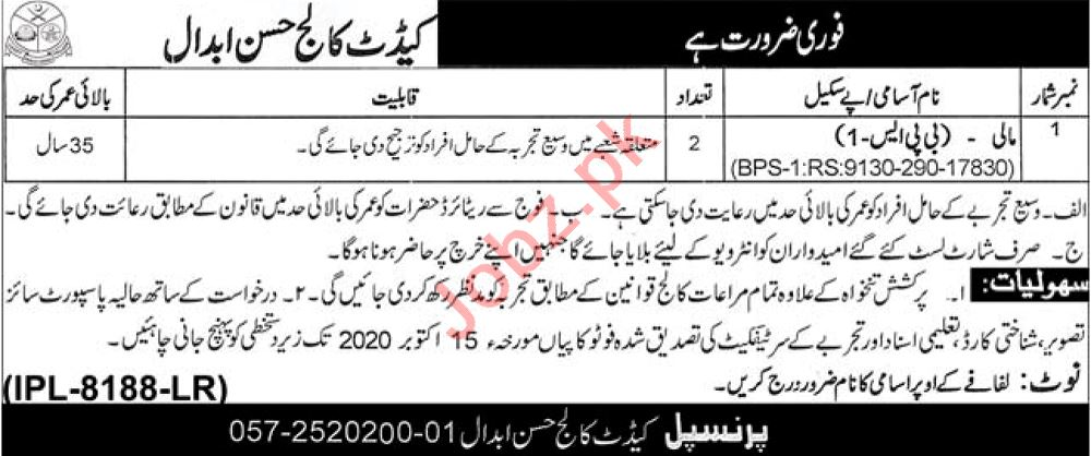 Mali Jobs 2020 in Cadet College Hassan Abdal