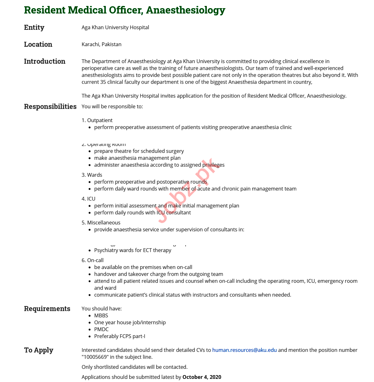 Aga Khan University Hospital AKUH Jobs 2020 for Doctor