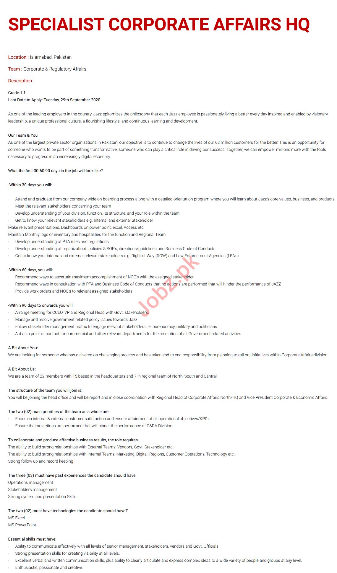 Specialist Corporate Affairs Jobs 2020 Jazz Telecom