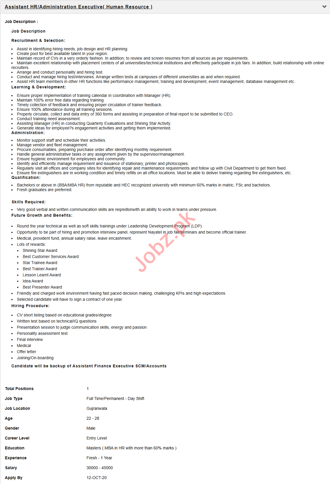Assistant HR & Administration Executive Jobs 2020