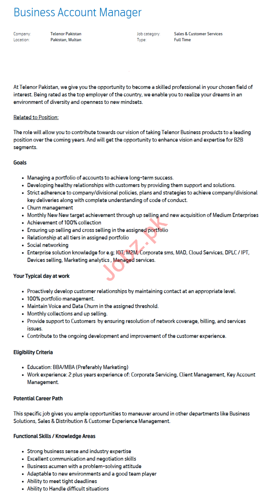 Business Account Manager Jobs 2020 in Multan