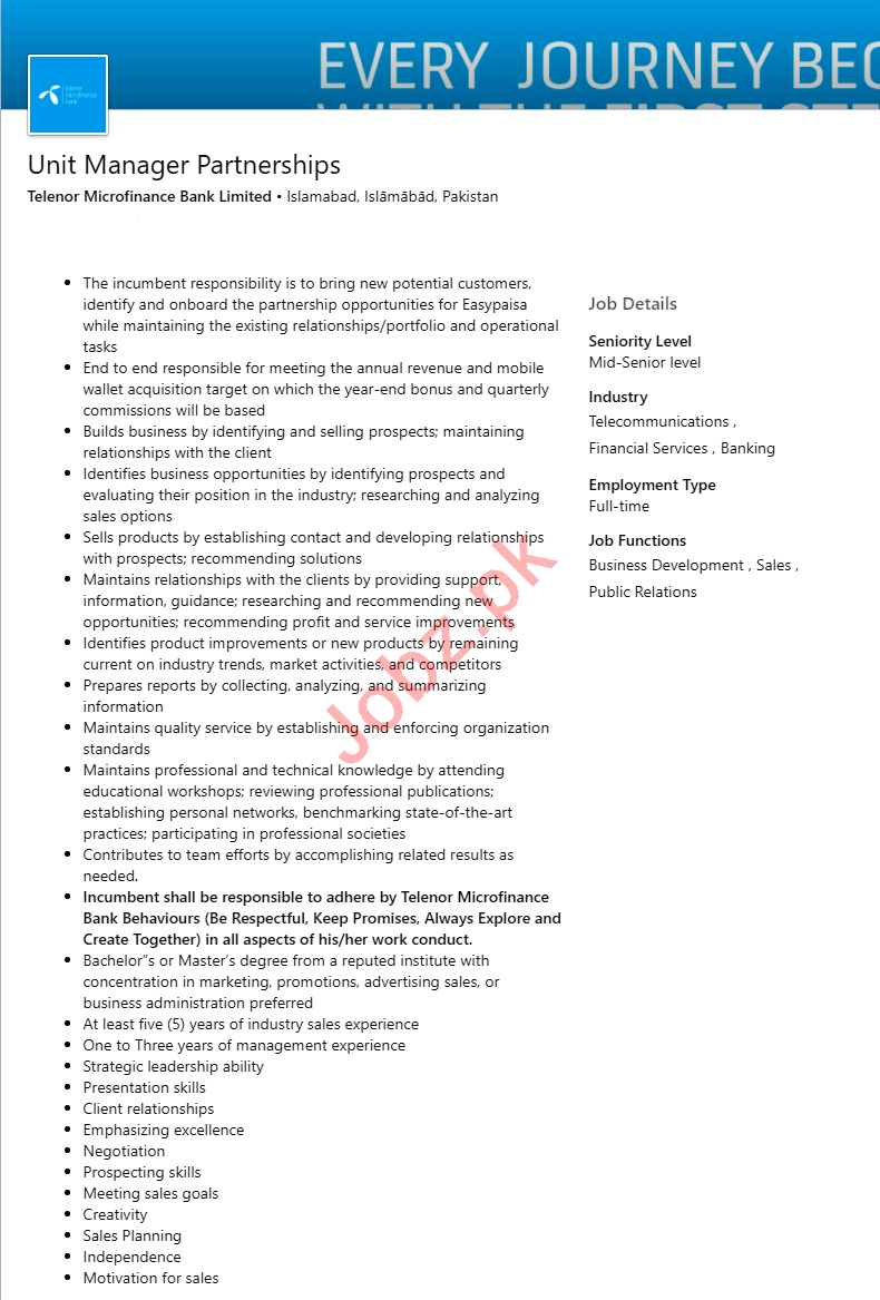 Unit Manager Partnerships Jobs in Telenor Bank Islamabad