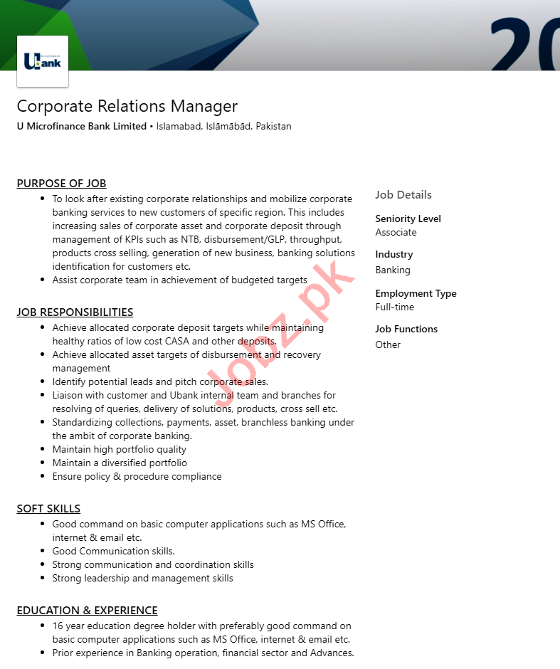 Corporate Relations Manager Jobs in UBank Islamabad