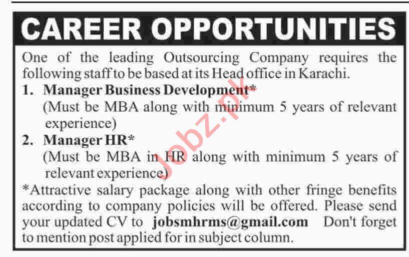 Manager Business Development & Manager HR Jobs 2020