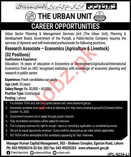 Urban Sector Planning & Management Services Unit Jobs 2020