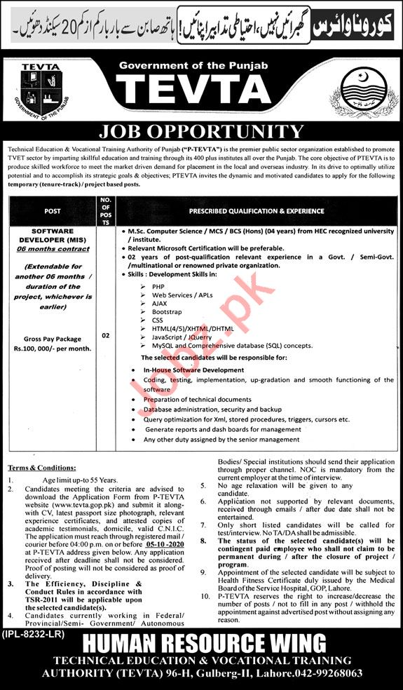 PTEVTA Technical Education Authority Jobs 2020