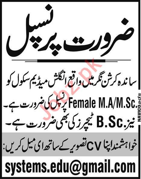 Female Principal Jobs 2020 in Lahore