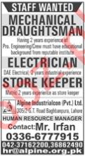 Mechanical Draftsman & Store Keeper Jobs 2020 in Lahore