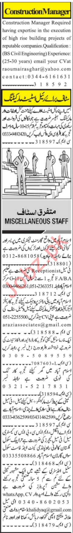 Construction Manager & Quality Checker Jobs 2020