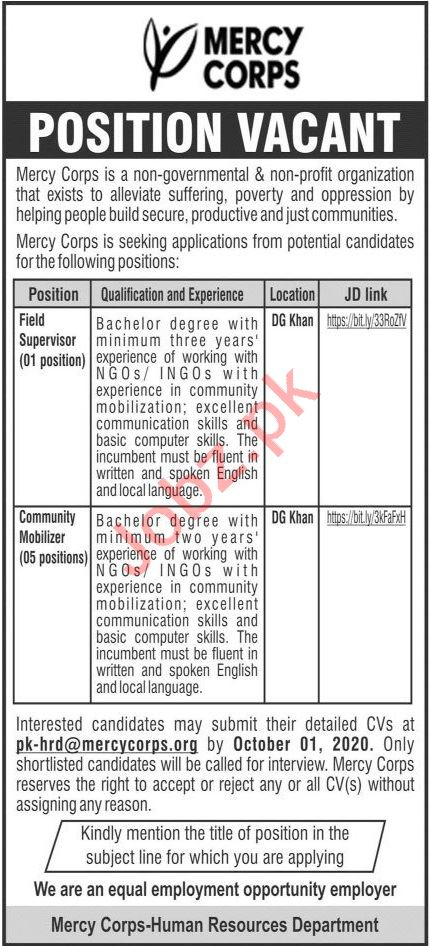 Mercy Corps Pakistan Jobs 2020 for Field Supervisor