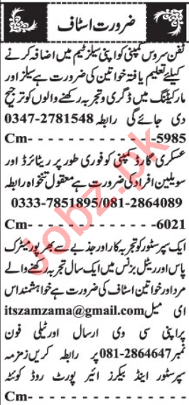 Marketing Manager & Sales Coordinator Jobs 2020 in Quetta