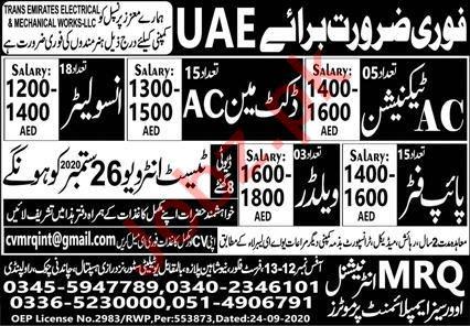 Pipe Fitter & Welder Jobs 2020 in UAE