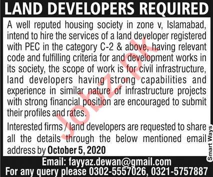 Land Developer & Architect Jobs 2020 in Islamabad