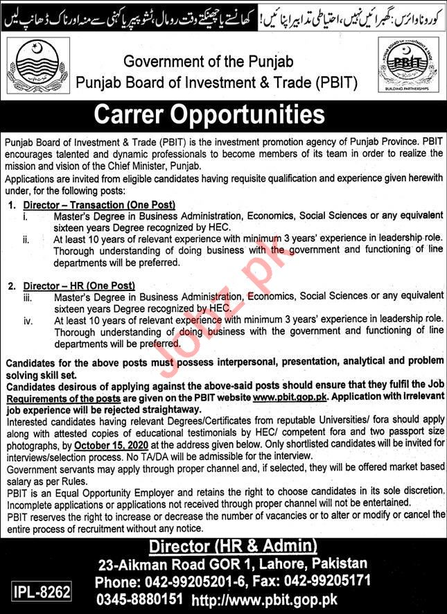 Punjab Board of Investment & Trade PBIT Jobs for Directors