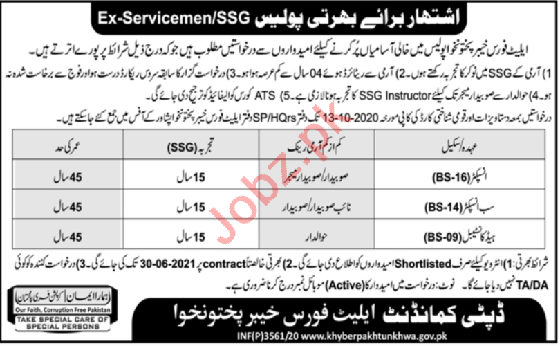 Elite Police Force KP Jobs 2020 for Inspector & Constable