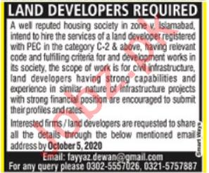 Land Developer & Civil Engineer Jobs 2020 in Islamabad