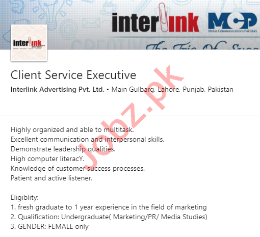 Interlink Advertising Lahore Jobs Client Service Executive